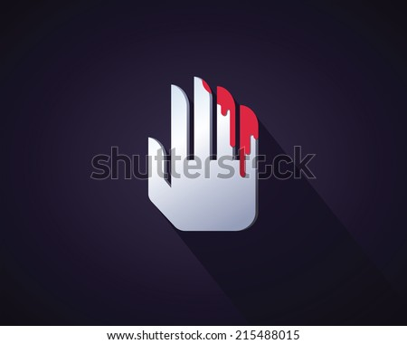 Abstract Icon Bloody Hand Symbol Violence Stock Vector 215488015