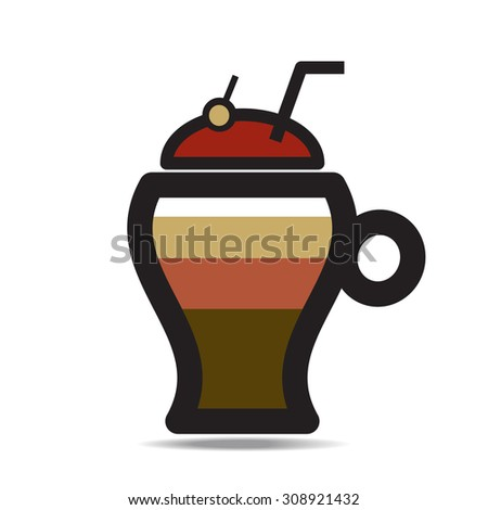 Abstract icon of glass with a cocktail in pop-art style, vector EPS 10. - stock vector