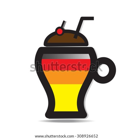 Abstract icon of glass with a cocktail in pop-art style , vector EPS 10. - stock vector