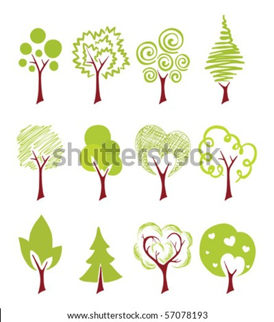 abstract icon trees - stock vector