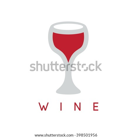 abstract icon vector design template of wineglass - stock vector
