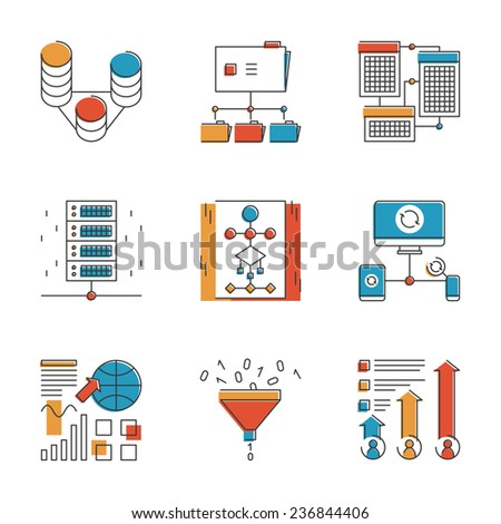 Abstract icons of big data analytics report, network statistics and datum infographic report for analyzing and forecasting. Unusual flat design line icons set unique art vector illustration concept. - stock vector