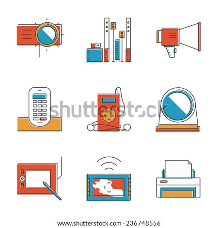 Abstract icons of digital devices and electronics like digital tablet, projector, printer, music player and cordless phone. Unusual flat design line icons set unique art vector illustration concept - stock vector