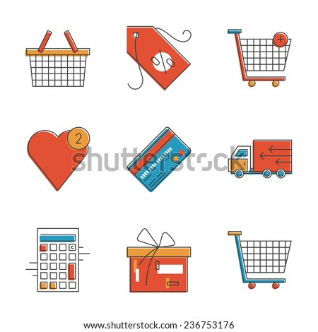 Abstract icons of e-commerce items, shopping cart and shop basket, retail elements and market objects. Unusual flat design line icons set unique art vector illustration concept. - stock vector