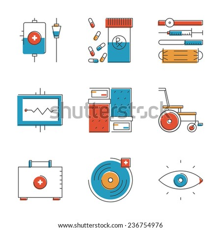Abstract icons of medical tools and healthcare equipment. Unusual flat design line icons set unique art vector illustration concept. - stock vector