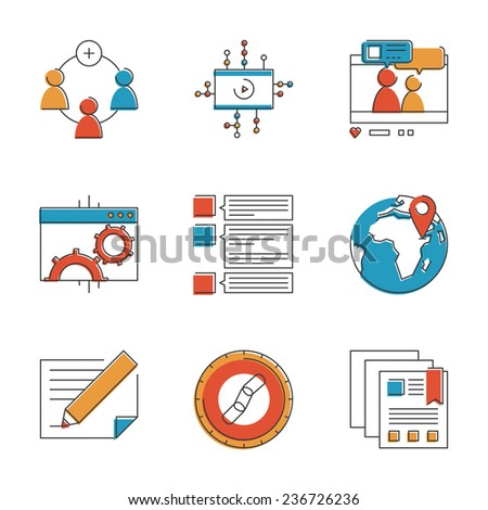Abstract icons of social marketing communication, website development process, seo optimization and digital networking group. Unusual flat design line icons set unique art vector illustration concept. - stock vector
