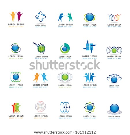 Abstract Icons Set - Isolated On White Background - Vector Illustration, Graphic Design Editable For Your Design - stock vector
