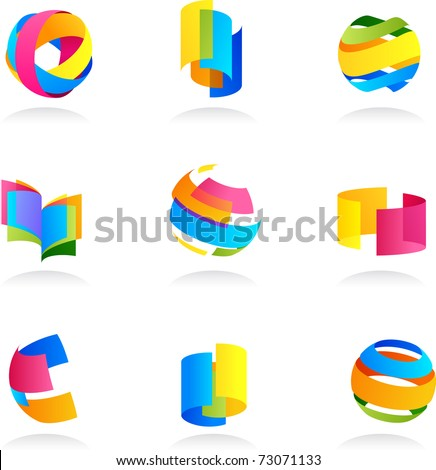 Abstract icons set with ribbon elements - stock vector