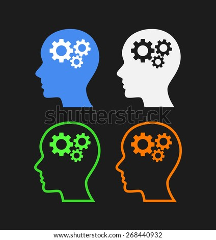 Abstract icons with a human head and gears, Vector Illustration isolated on black - stock vector