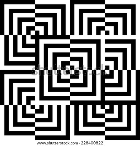 abstract illusion of black and white corners - stock vector