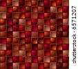 Abstract illustrated tile with repeating square design in red - stock photo
