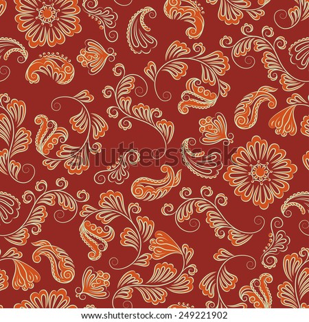 Abstract Illustration Floral Seamless Pattern - stock vector