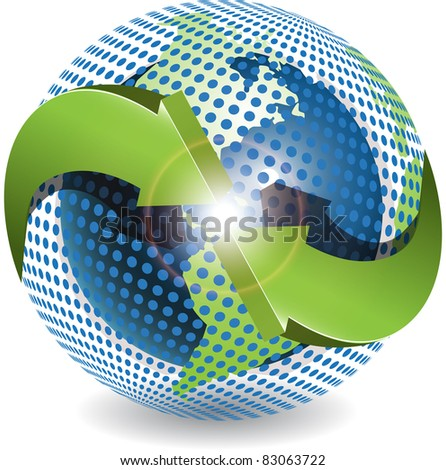 Abstract illustration green round arrows around globe - stock vector