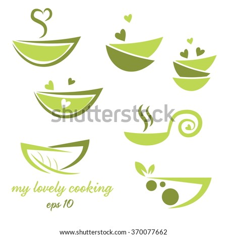 Abstract illustration icon of eco bowl with leaf and heart - stock vector