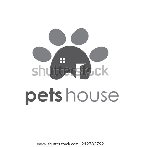 Abstract illustration icon of pets paw with window and door - stock vector
