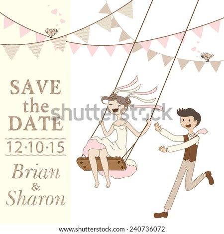 abstract illustration of a bride and groom on a swing - stock vector