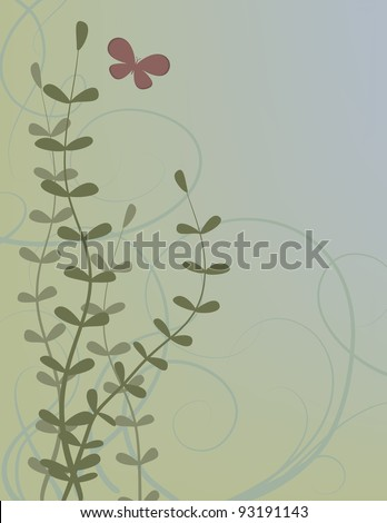 Abstract illustration of a butterfly in a garden. - stock vector