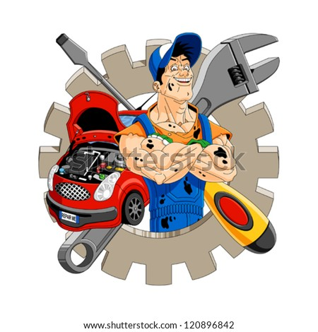 Abstract illustration of a cheerful mechanic with gear, car, screwdriver and wrench on the background. - stock vector