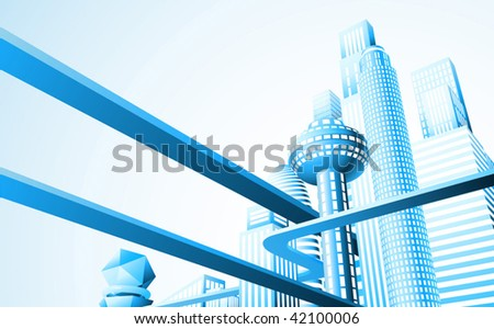 Abstract illustration of a futuristic cityscape or skyline - stock vector