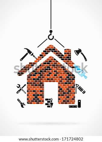 Abstract illustration of a house construction site - stock vector