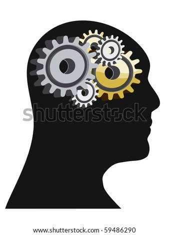 Abstract illustration of a human head with gears