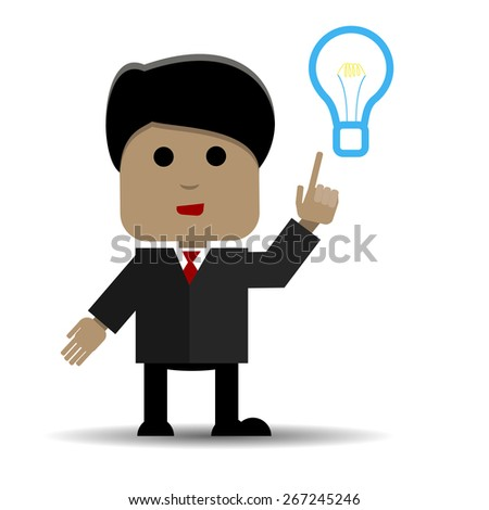 Abstract illustration of a man and light bulb - stock vector