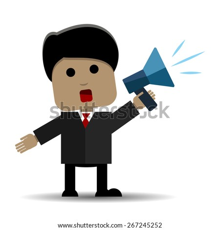 Abstract illustration of a man with a loudspeaker - stock vector