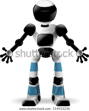 abstract illustration of a robot with black glass - stock vector