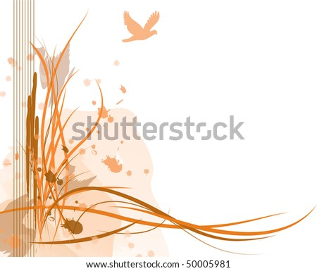 Abstract illustration of a sand dune with a bird in the sky. - stock vector