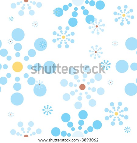 Abstract illustration of a seamless snow flake repeat design in blue - stock vector