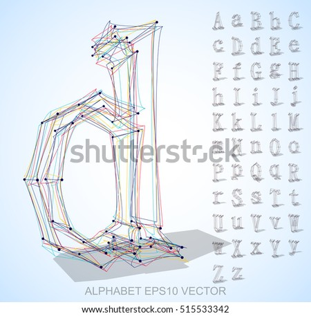 Abstract illustration of a sketched Letters with transparent shadow. Set of hand drawn 3D Letters for your design. EPS 10 vector illustration