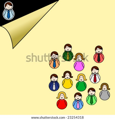 Abstract illustration of exclusion, discrimination, isolation in a business company or in modern society. People in the group are smiling while the excluded man is unhappy. - stock vector