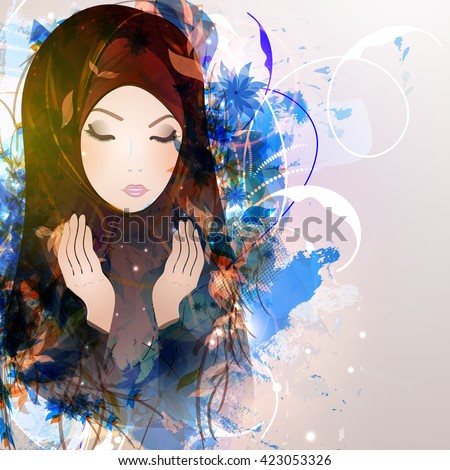 Abstract illustration of girl reads a prayer, a Muslim, Islam. - stock vector