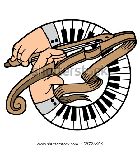 Abstract illustration of hands playing a violin - stock vector