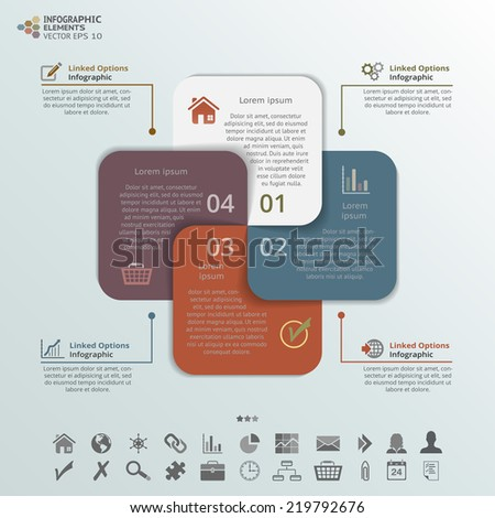 Abstract illustration of 4 options infographic elements. Vector components for process steps, promotion, presentation, template and business. - stock vector