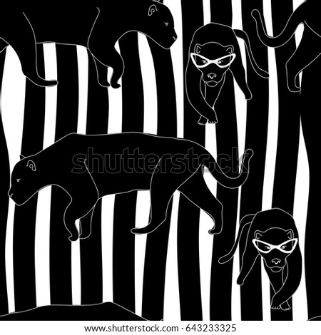 Abstract Illustration Panther Animal Seamless Pattern Stock Vector ...
