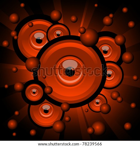 abstract illustration of red explosion with eyes and balls - stock vector