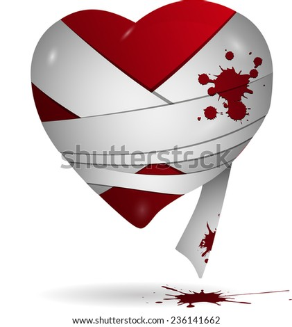 Abstract illustration of red heart in bandages - stock vector