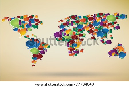 abstract illustration of social network around the world represented with speech bubbles - stock vector