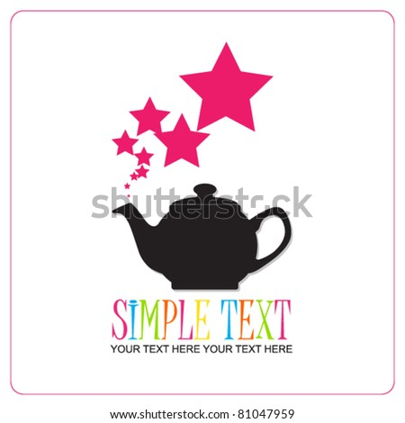 Abstract illustration of teapot with stars. Place for your text. - stock vector