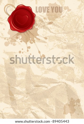 abstract illustration of wax stamp with heart on old paper