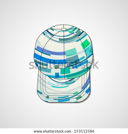 Abstract illustration on peaked cap, template editable.