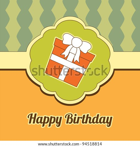 Abstract  illustration with birthday gift. Birthday invitation - stock vector