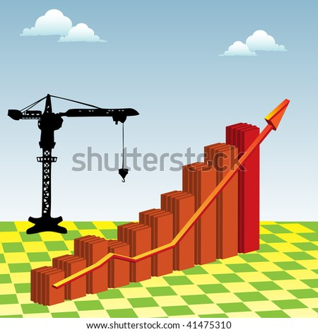 Abstract illustration with crane, clouds and colorful graph with arrow. Progress concept - stock vector
