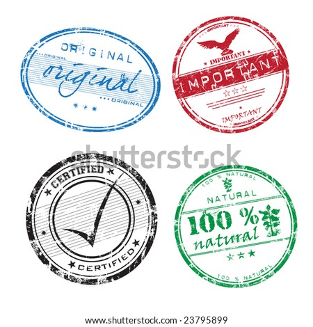 Abstract illustration with four grunge office rubber stamps with the words important, original, hundred percent natural and certified - stock vector