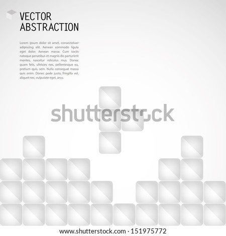 abstract illustration with glossy cubes in the style of Tetris - stock vector