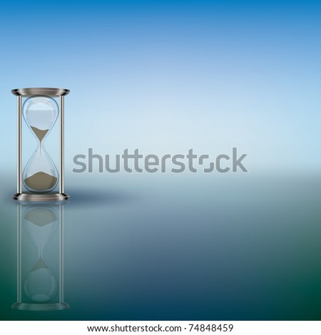 abstract illustration with hourglass on blue background - stock vector