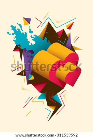 Abstract illustration with isometric heart. Vector illustration. - stock vector