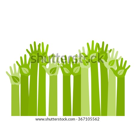abstract illustration with raising hands with a leaf symbol. eco friendly design template. care of environment volunteer concept. vector - stock vector