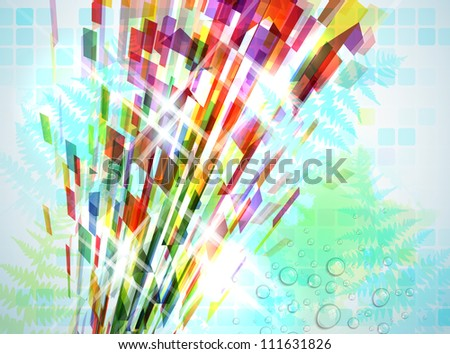 Abstract illustration with shattered elements on soft textured background.